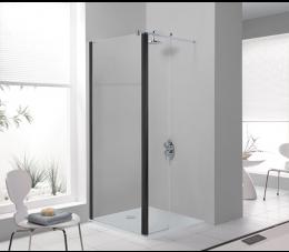 Sanplast kabina Walk-In z elementem ruchomym 90 cm, profile: czarne matowe, szyba: sitodruk 18W