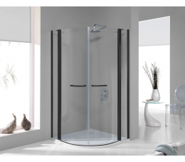Sanplast kabina narożna półokrągła KP4/PRIII 100 cm, profile: czarne matowe, szyba: transparentna