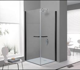 Sanplast kabina narożna kwadratowa KN2/PRIII 80 cm, profile: czarne matowe, szyba: transparentna