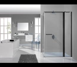 Sanplast kabina narożna prostokątna KNDJ2/PRIII 80x100 cm, profilr: czarne matowe, szyba: transparentna