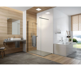 Sanplat kabina walk-in P/FREEII 100 cm, profile: czarne matowe, szyba: transparentna