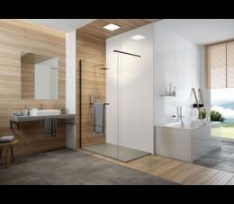 Sanplat kabina walk-in P/FREEII 90 cm, profile: czarne matowe, szyba: transparentna